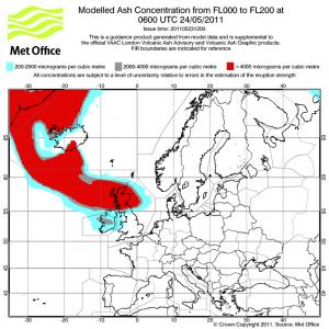 Volcanic ash forecast over scotland